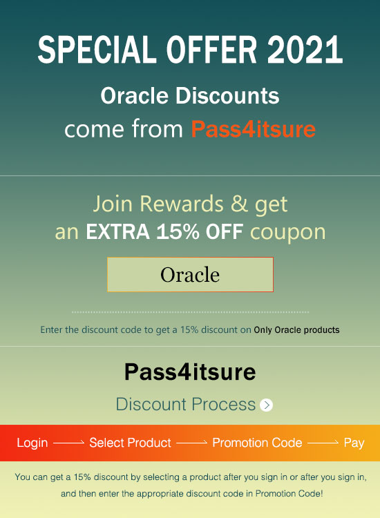 pass4itsure Oracle discount code